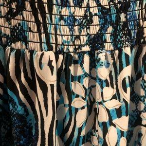 Cache Dresses - Cache Small Blue, White, Silver & Black Strapless